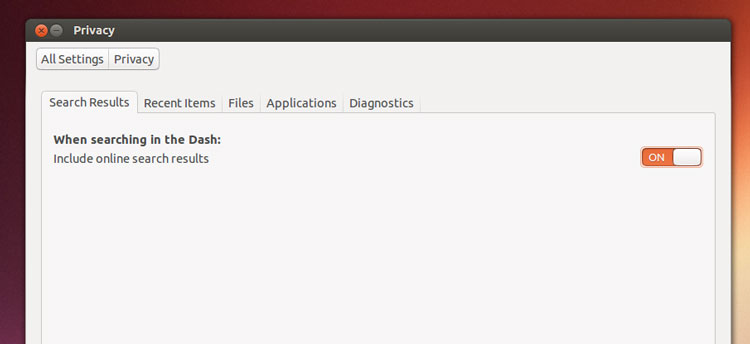 Privacy settings in Ubuntu let you opt in to seeing online results